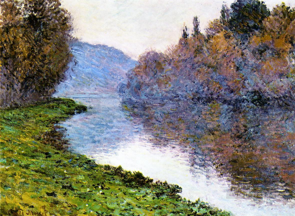 Banks of the Seine at Jenfosse Clear Weather Claude Monet Landscapes river Oil Paintings