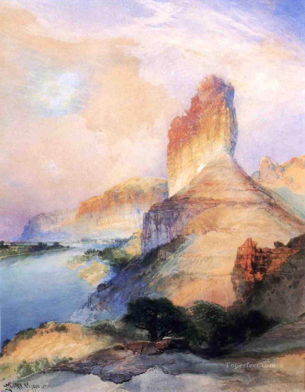 Castle Butte Green River Wyoming landscape Rocky Mountains School Thomas Moran Oil Paintings