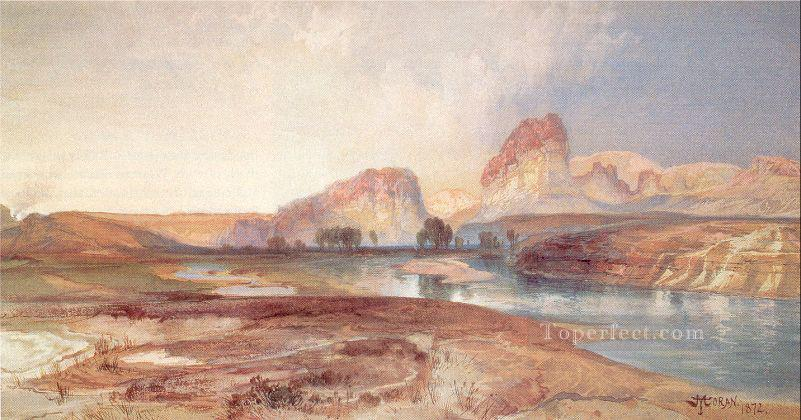 Cliffs Green River Wyoming landscape Rocky Mountains School Thomas Moran Oil Paintings