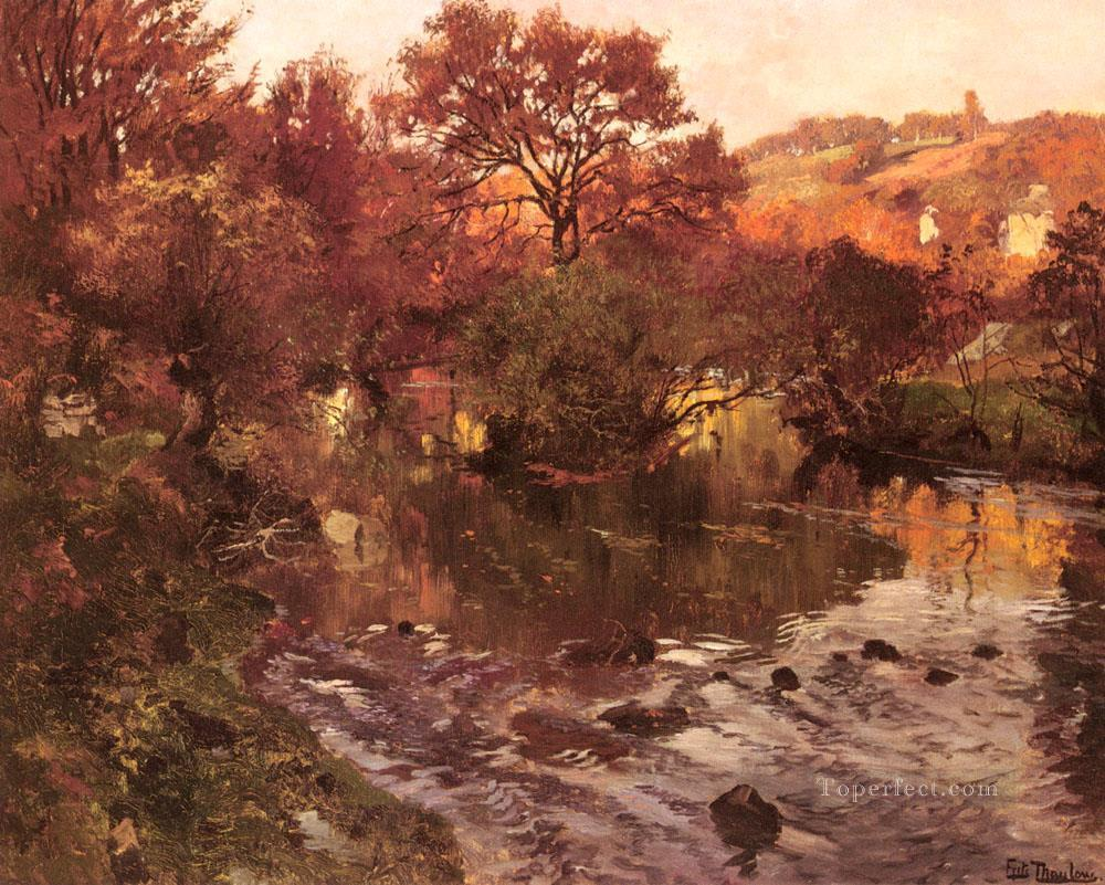 Golden Autumn Brittany impressionism Norwegian landscape Frits Thaulow river Oil Paintings