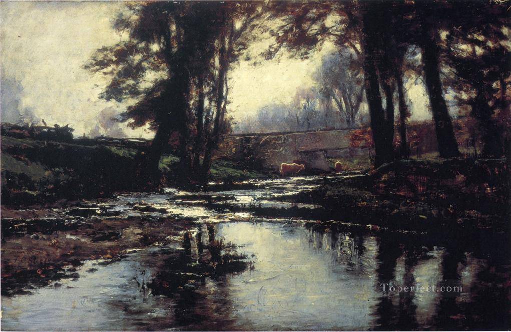 Pleasant Run Impressionist Indiana landscapes Theodore Clement Steele river Oil Paintings