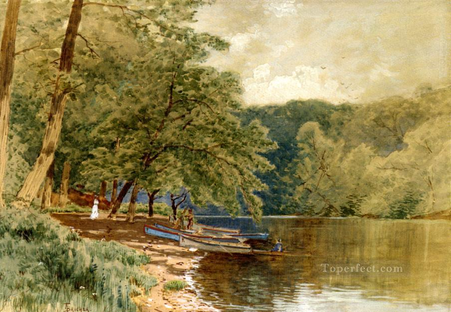 Rowboats for Hire Alfred Thompson Bricher river Oil Paintings
