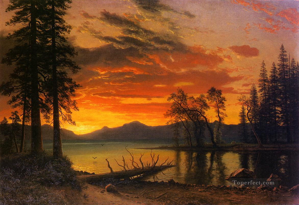 Sunset over the River Albert Bierstadt Landscapes Oil Paintings