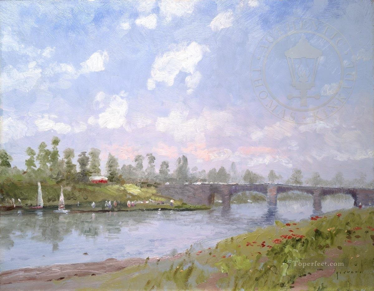 The Riverbank nature scene Oil Paintings