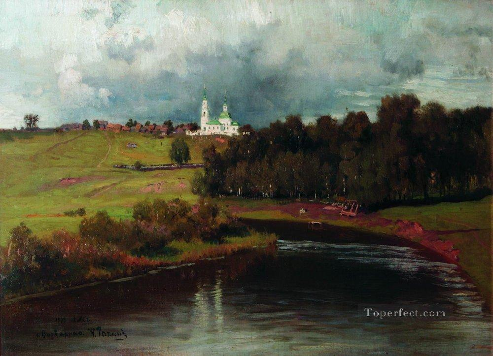 view of the village varvarino 1878 Ilya Repin Landscapes river Oil Paintings