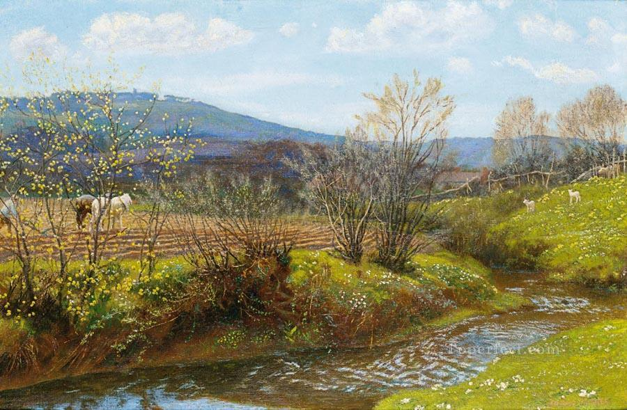 A Spring Afternoon scenery Arthur Hughes Landscapes brook Oil Paintings