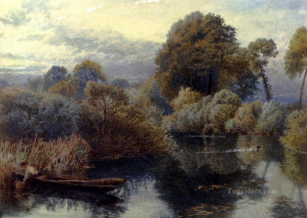 An Eel Fisherman On The Thames scenery Victorian Myles Birket Foster Landscapes river Oil Paintings