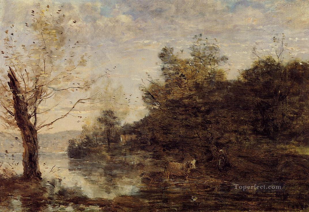 Cowherd by the Water Jean Baptiste Camille Corot brook Oil Paintings