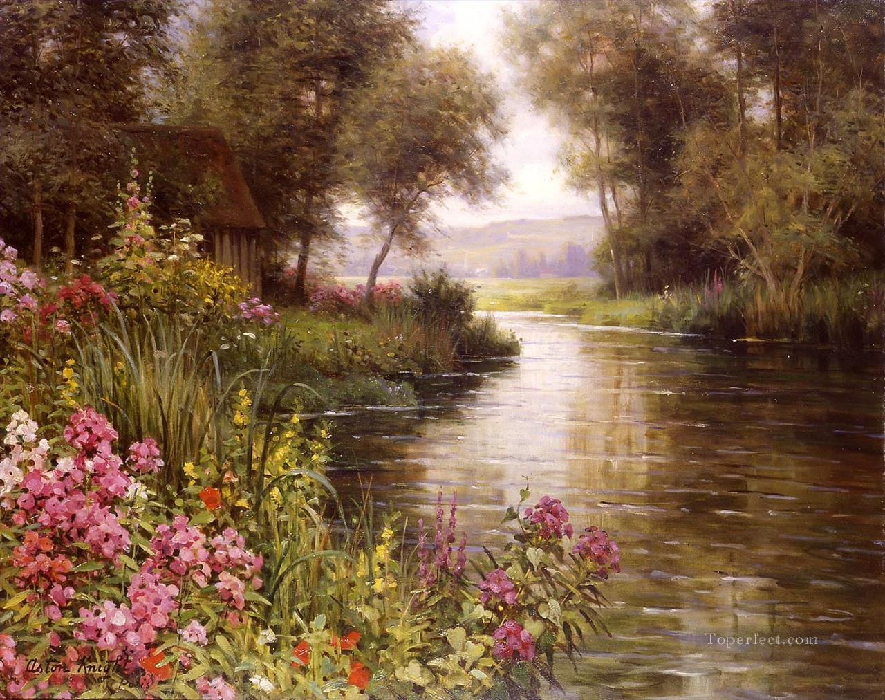 Fleur au bord de la riviere landscape Louis Aston Knight brook Oil Paintings
