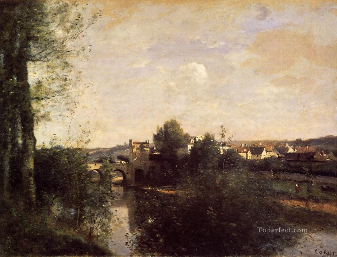 Old Bridge at Limay on the Seine Jean Baptiste Camille Corot brook Oil Paintings