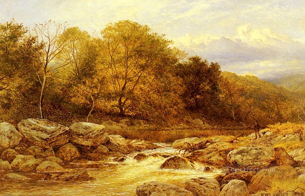 On The Llugwy North Wales landscape Benjamin Williams Leader brook Oil Paintings