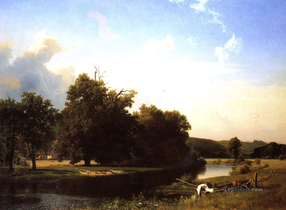Westphalia Albert Bierstadt Landscapes stream Oil Paintings