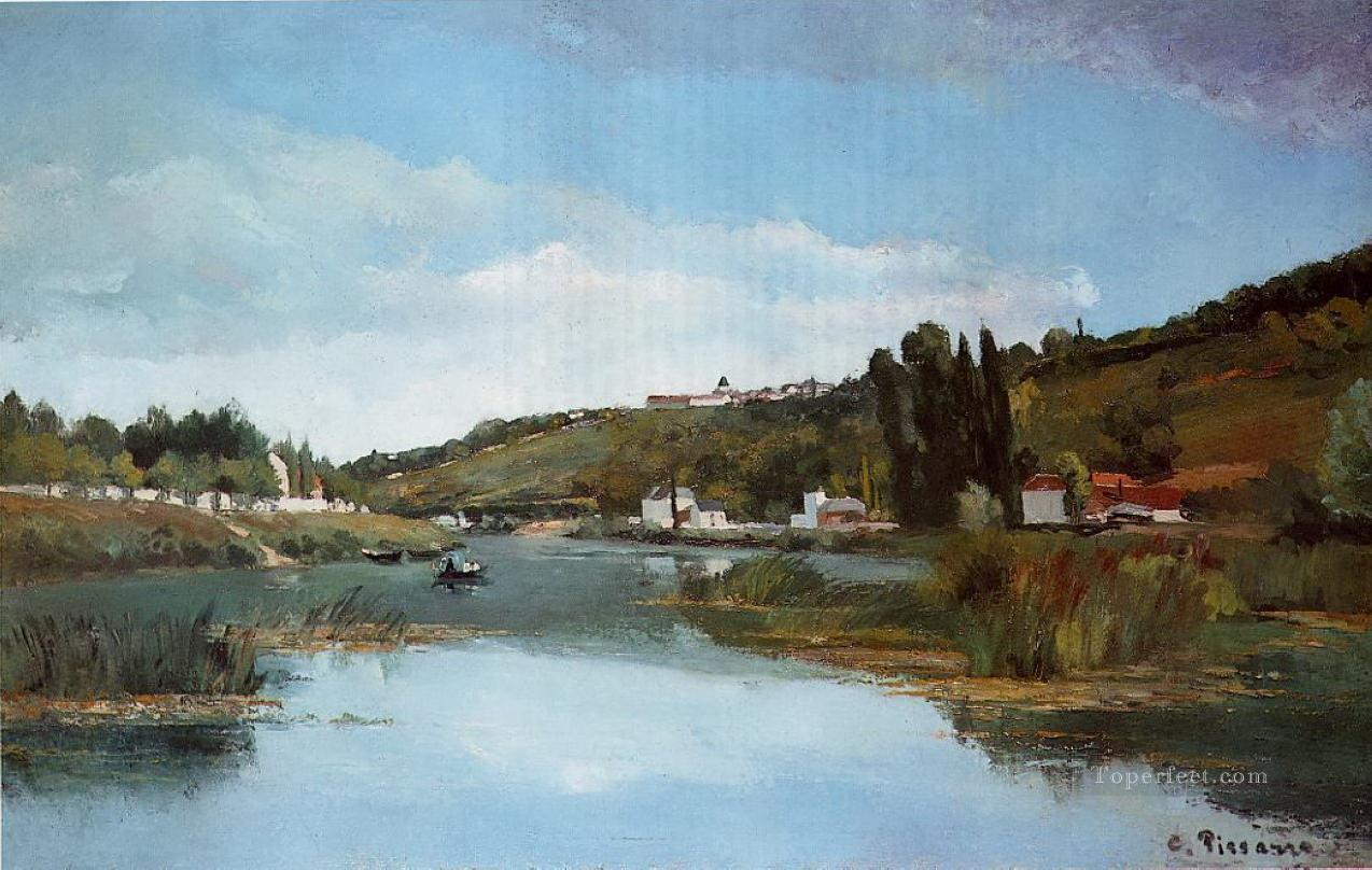 the marne at chennevieres 1864 Camille Pissarro Landscapes brook Oil Paintings