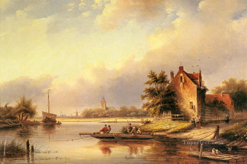 A Summers Day At The Ferry Crossing boat Jan Jacob Coenraad Spohler Landscapes stream Oil Paintings