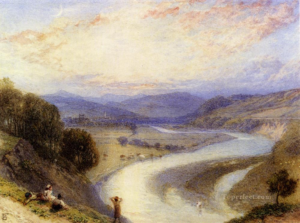 Melrose Abbey From The Banks Of The Tweed scenery Victorian Myles Birket Foster Landscapes stream Oil Paintings