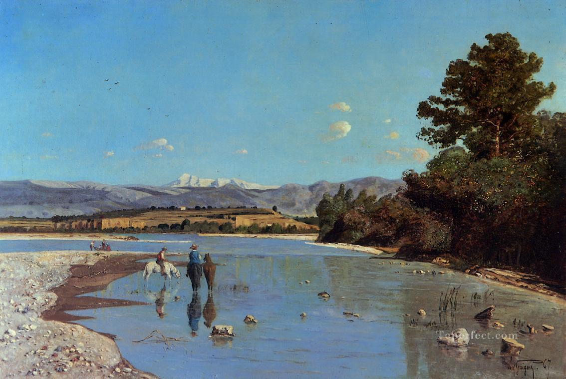 The Banks of the Durance at Puivert2 scenery Paul Camille Guigou Landscapes stream Oil Paintings