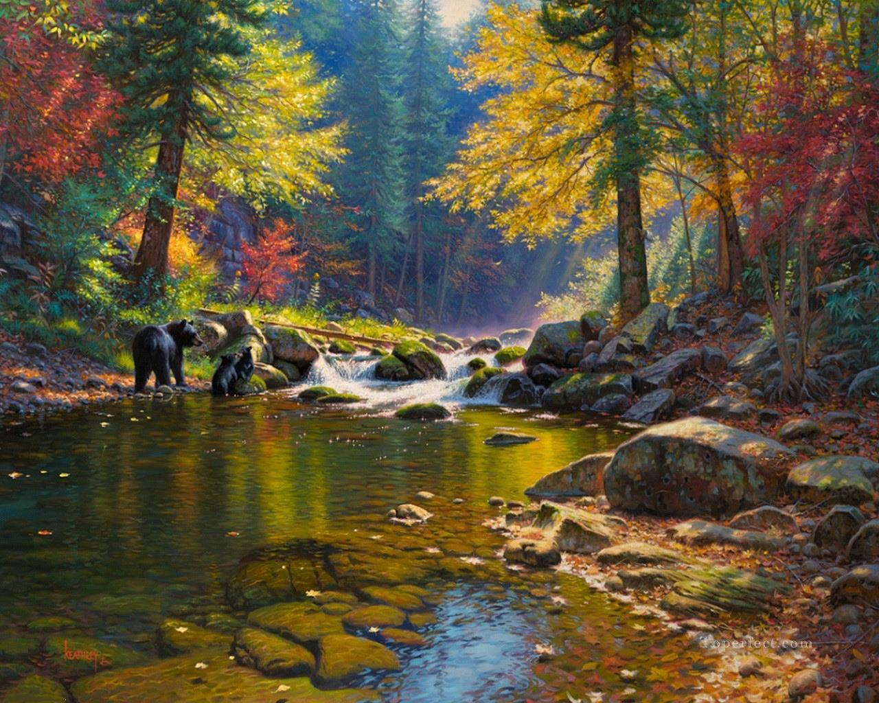 bear in autumn river Landscapes Oil Paintings