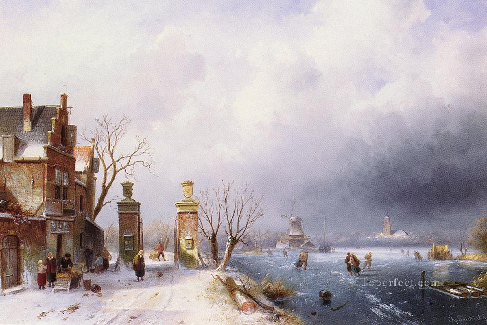 Belgian 1818 to 1907A Sunlit Winter Lansca landscape Charles Leickert stream Oil Paintings