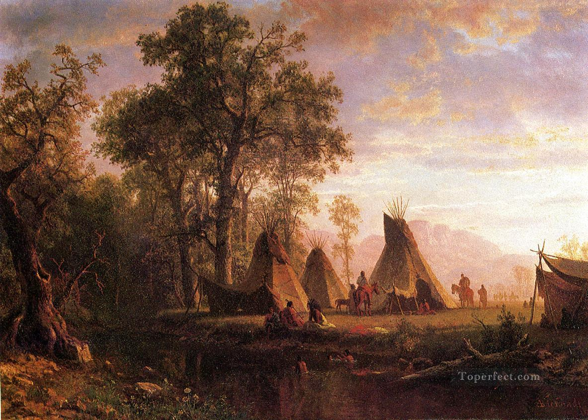 Indian Encampment Late Afternoon Albert Bierstadt Landscapes stream Oil Paintings
