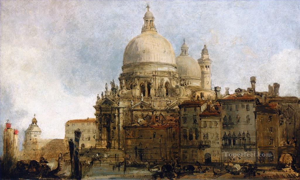 view of the church of santa maria della salute on grand canal venice with dogana beyond David Roberts Oil Paintings