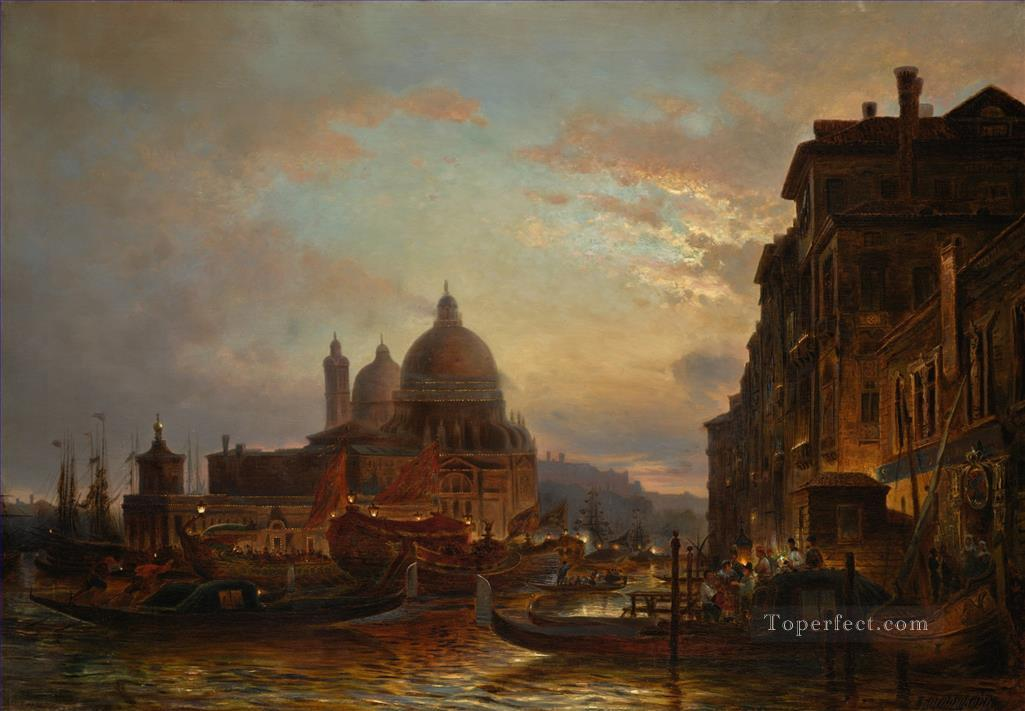 VENICE AT DUSK EVE CELEBRATION SANTA MARIA DELLA SALUTE Alexey Bogolyubov cityscape Oil Paintings