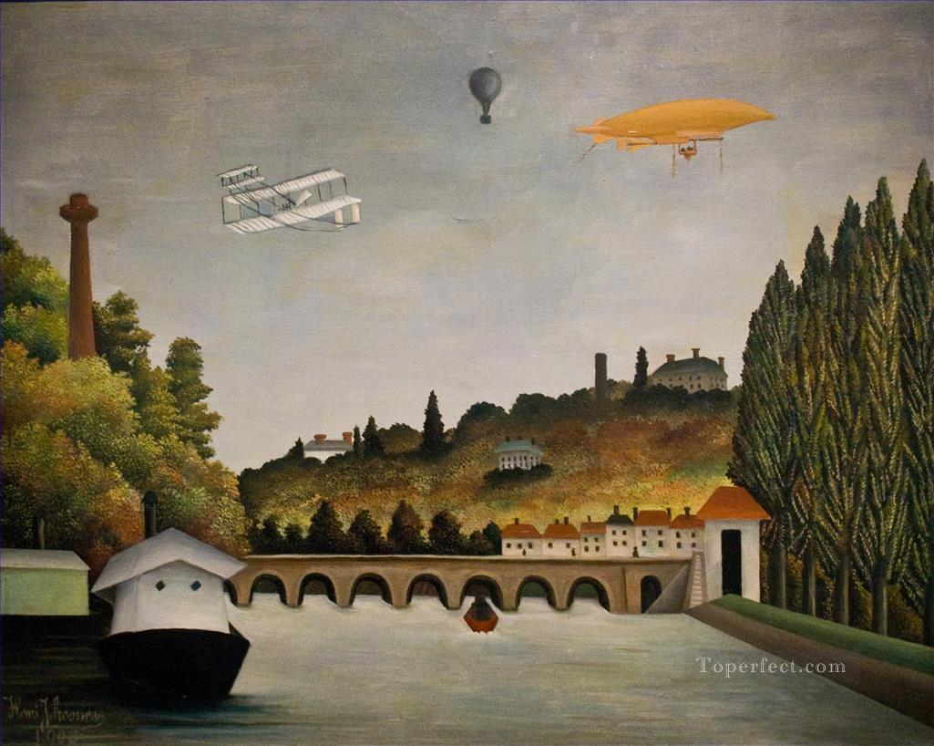 View of the Bridge in Sevres and the Hills of Clamart Saint Cloud and Bellevue with biplane balloon and dirigible Henri Rousseau city Oil Paintings