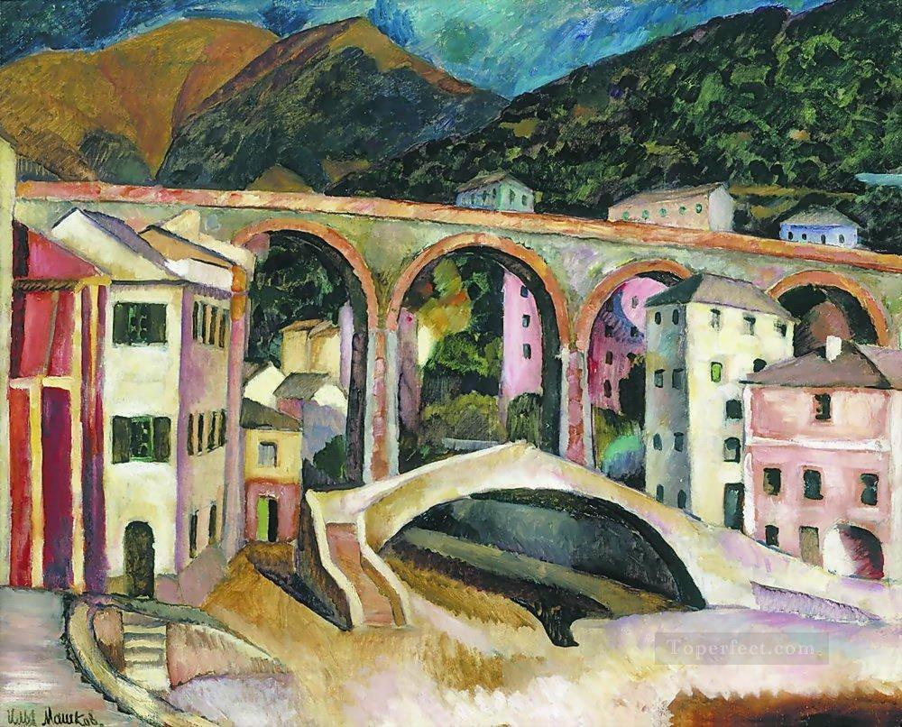 italy nervi landscape with aqueduct 1913 Ilya Mashkov cityscape city scenes Oil Paintings