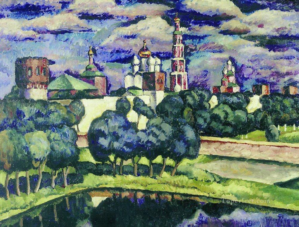 the novodevichy convent 1913 Ilya Mashkov cityscape city scenes Oil Paintings