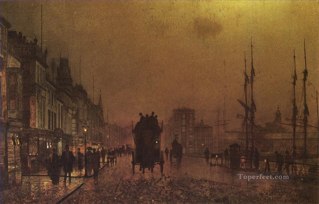 Glasgow Docks city scenes John Atkinson Grimshaw cityscapes Oil Paintings