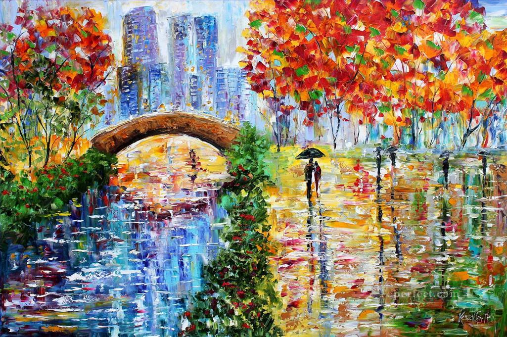 new york central park rain cityscapes painting in oil for sale. Black Bedroom Furniture Sets. Home Design Ideas