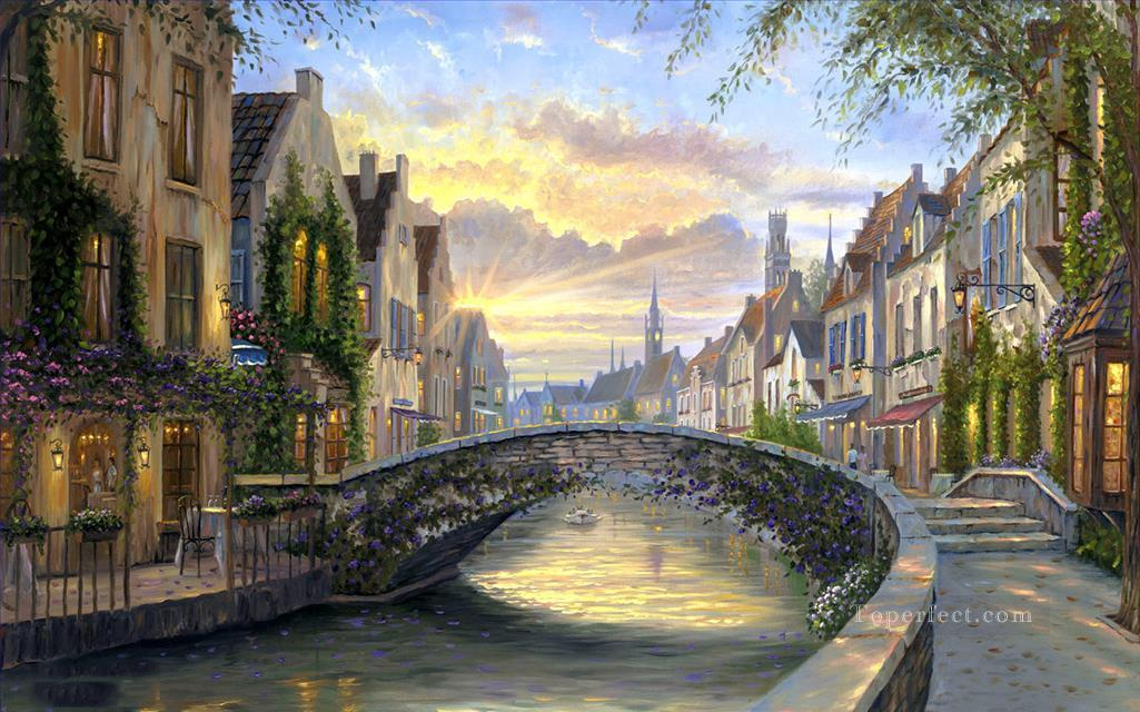Reflections of Belgium cityscapes Oil Paintings