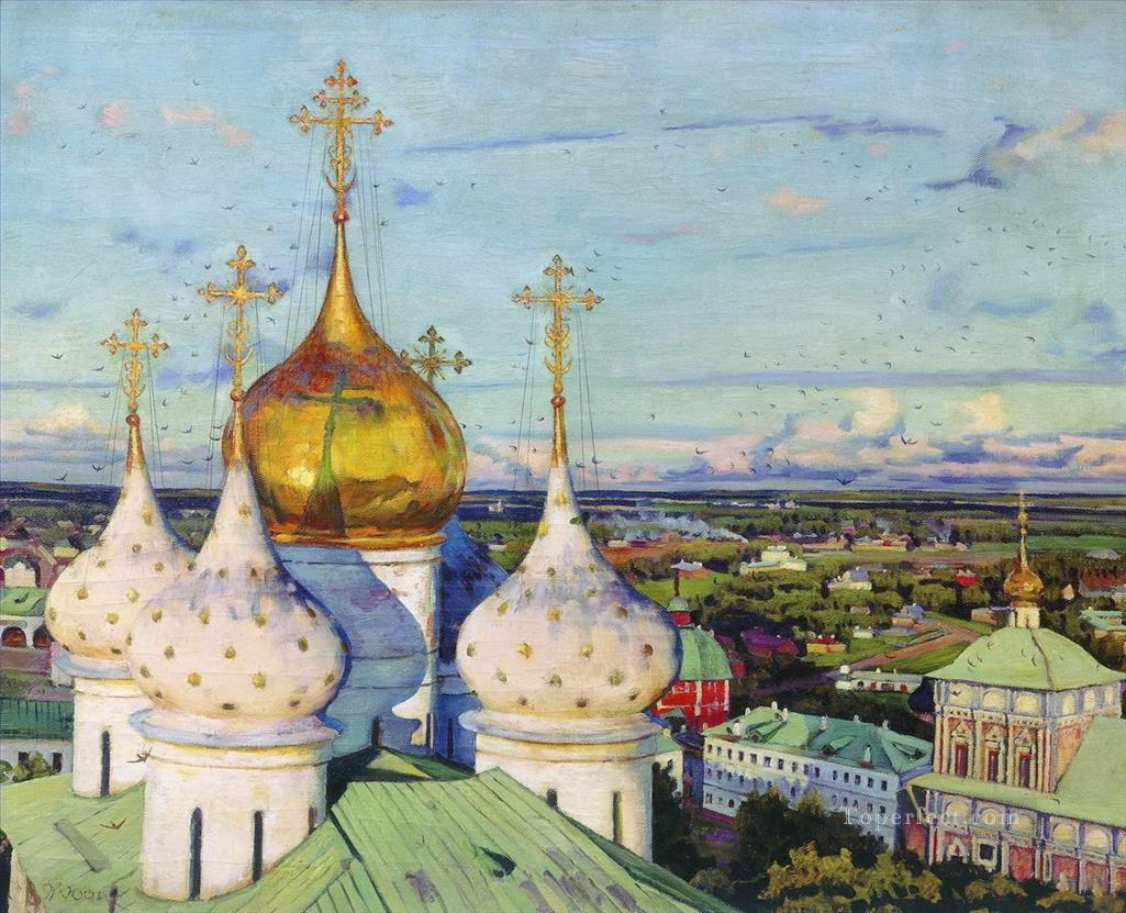 domes swallows assumption cathedral of trinity sergius lavra Konstantin Yuon cityscape Oil Paintings
