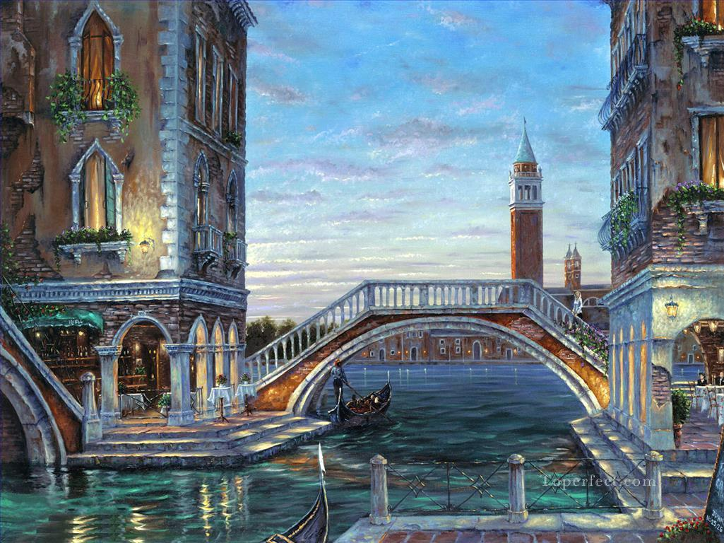 Evening In Venezia Robert F cityscapes Oil Paintings