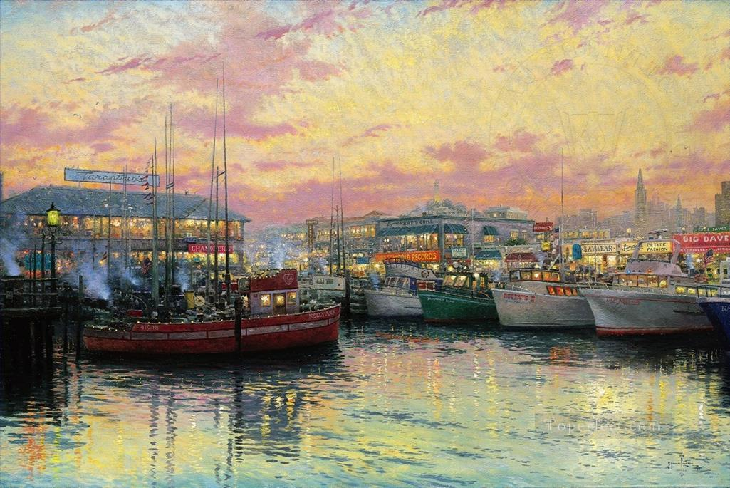 San Francisco Fishermans Wharf cityscape Oil Paintings