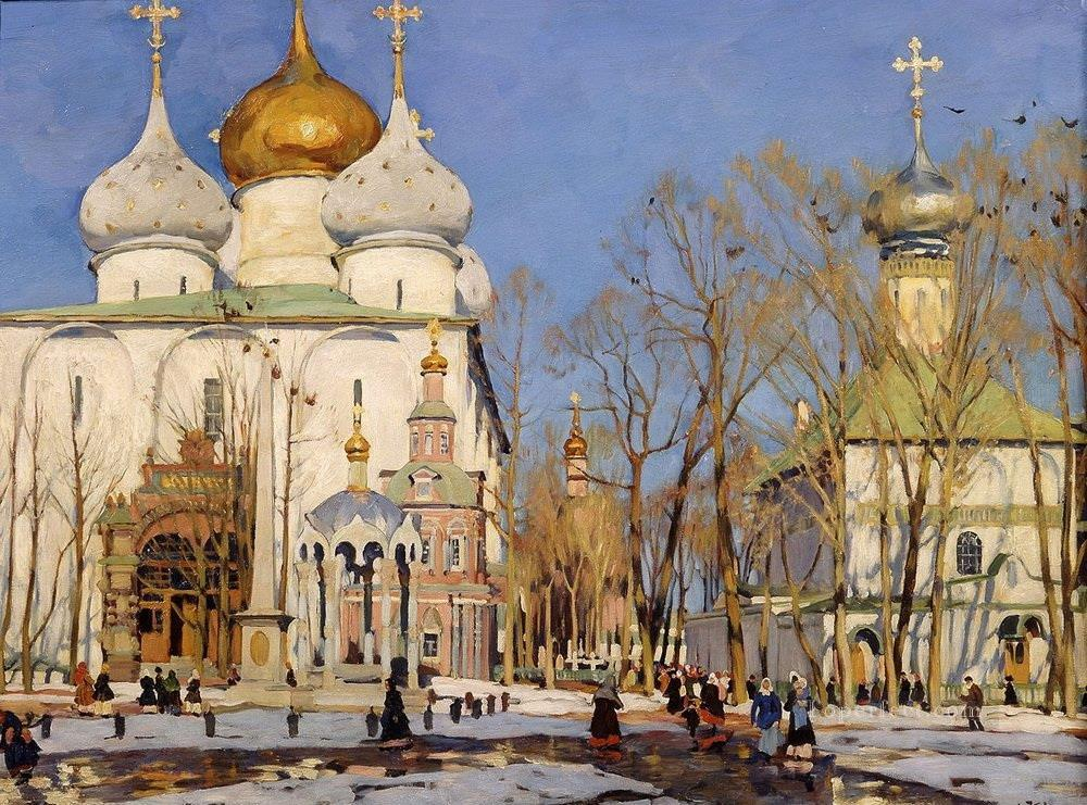 the annunciation day 1922 Konstantin Yuon cityscape city scenes Oil Paintings
