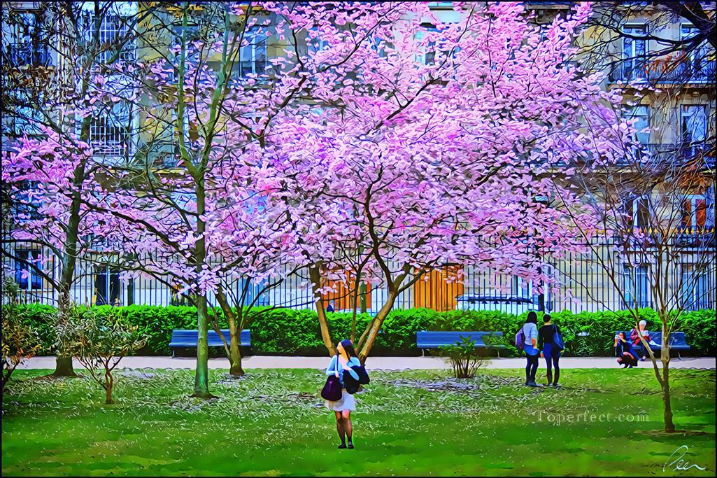 Blooming tree in the Jardins du Luxembourg cityscapes Oil Paintings
