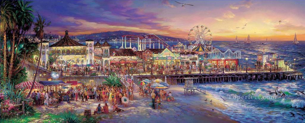 Santa Monica cityscape modern city scenes beach Oil Paintings