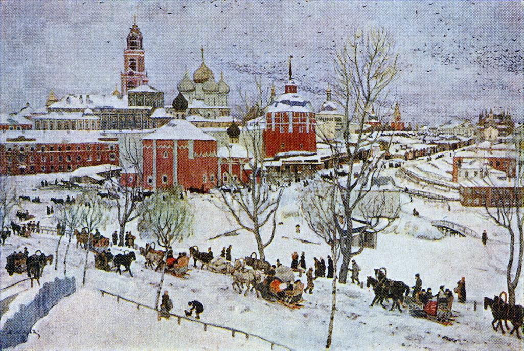 in sergiyev posad 1911 Konstantin Yuon cityscape city scenes Oil Paintings