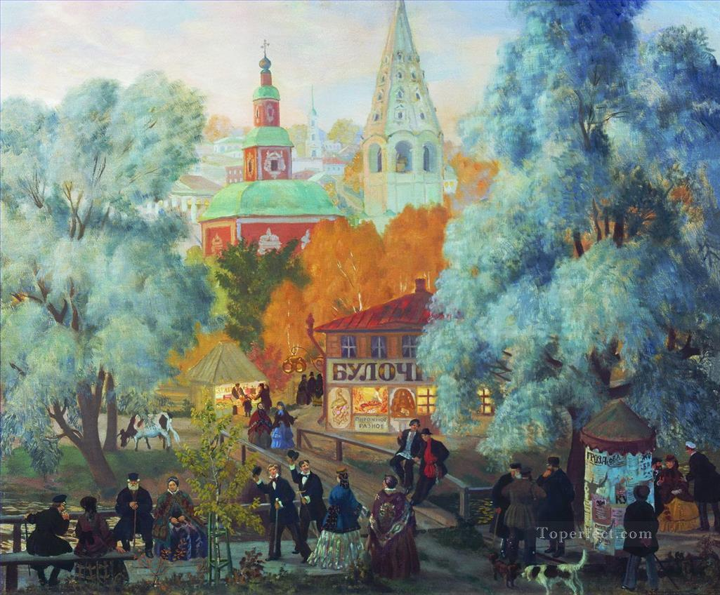 province 1919 Boris Mikhailovich Kustodiev cityscape city scenes Oil Paintings