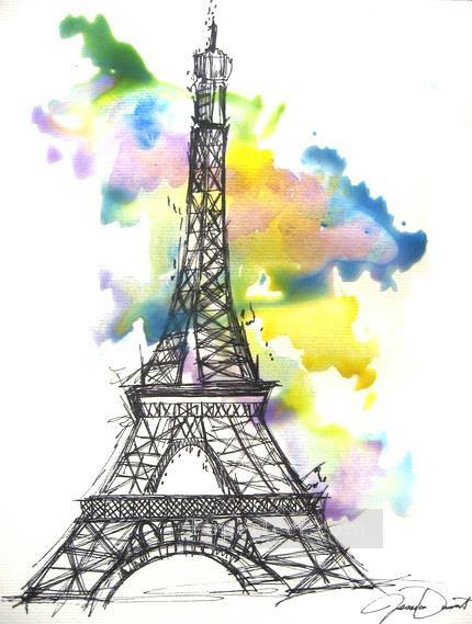 eiffel drawing Oil Paintings