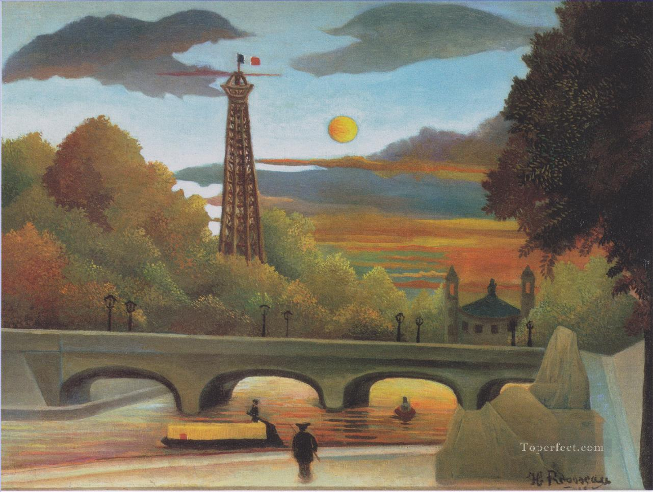 seine and eiffel tower in the sunset 1910 Henri Rousseau Paris Oil Paintings