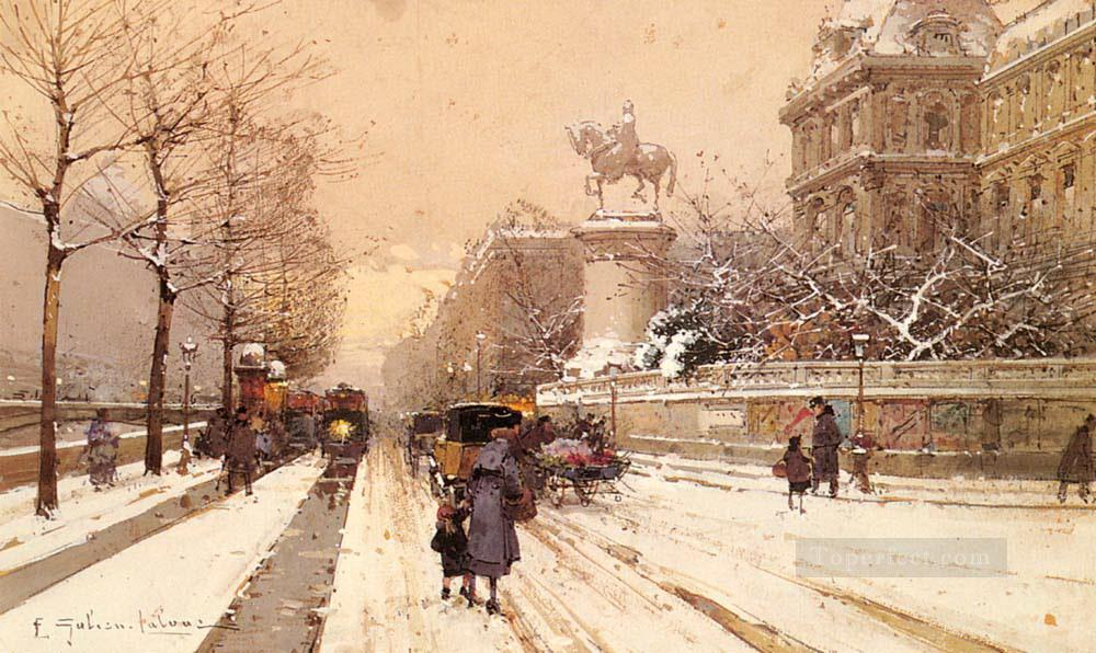 Paris In Winter Parisian Eugene Galien Laloue Oil Paintings