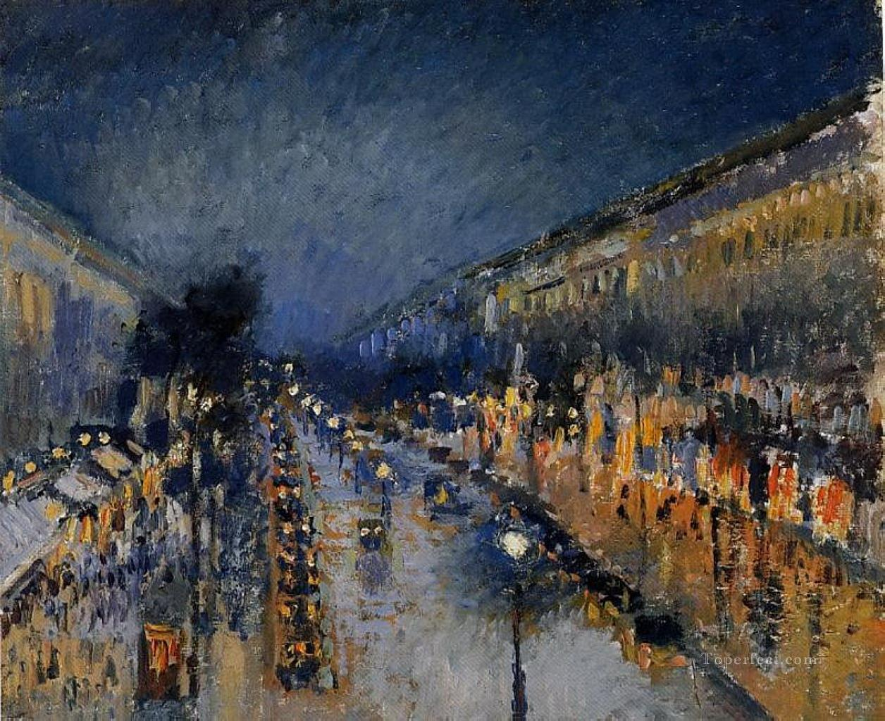 Pissarro the boulevard montmartre at night Paris Oil Paintings