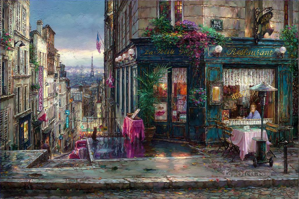 Parisian Dreams cityscape modern city scenes cafe Oil Paintings