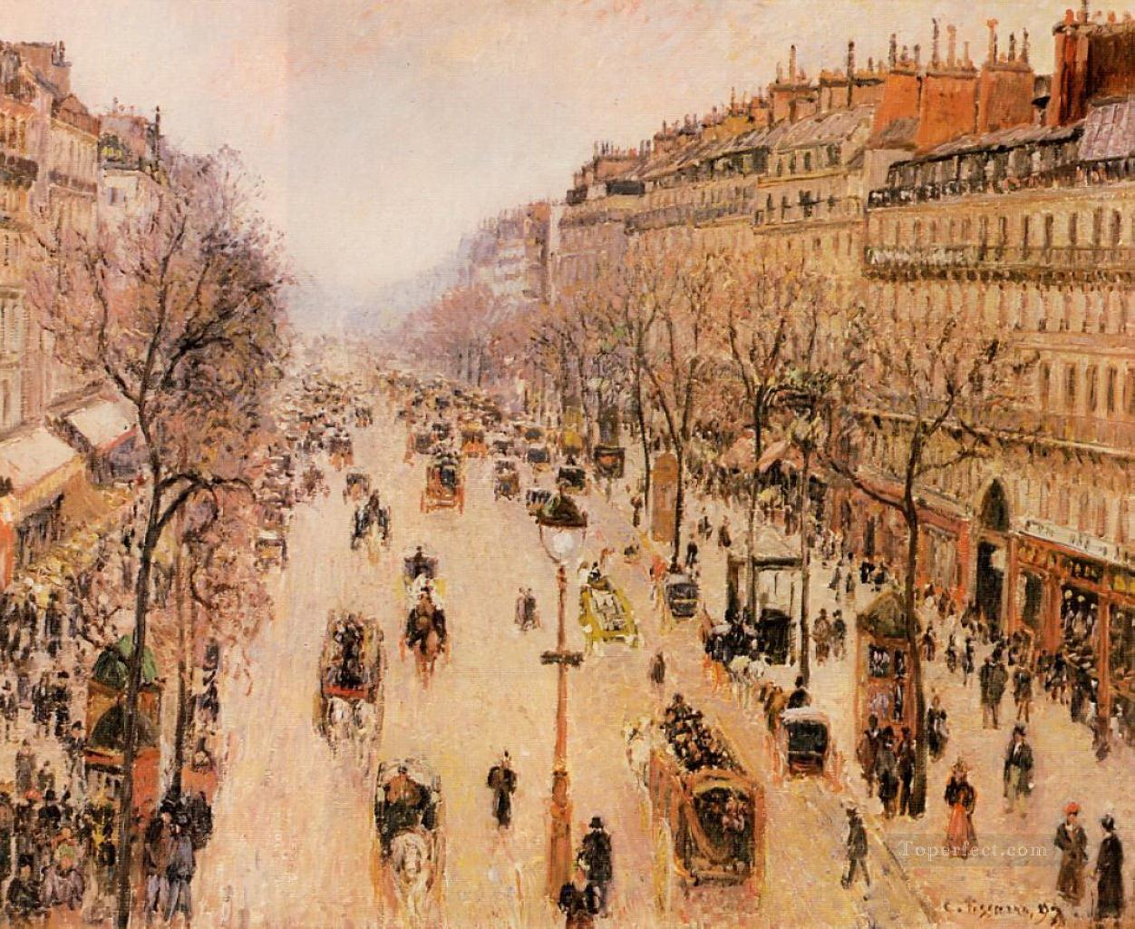boulevard montmartre morning grey weather 1897 Camille Pissarro Parisian Oil Paintings