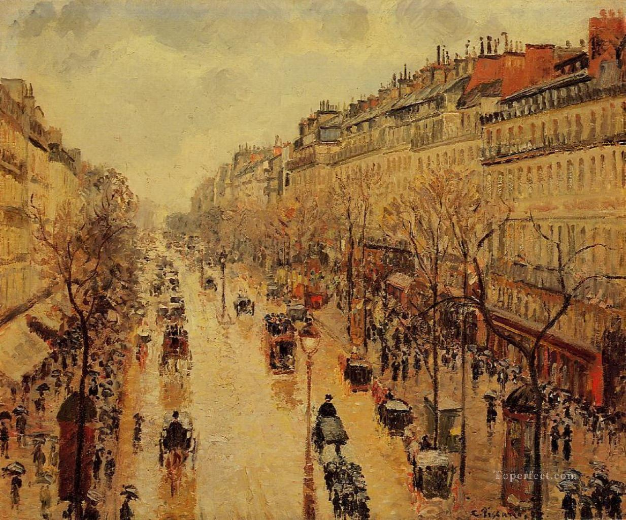 camille pissarro boulevard montmartre afternoon in the rain 1897 Parisian Oil Paintings