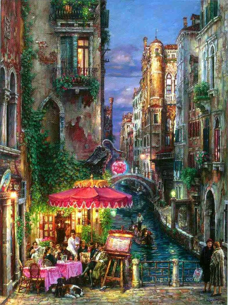 Red umbrella venice painting in oil for sale for Painting red umbrella