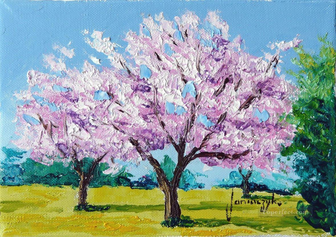 CHERRY BLOSSOMS garden Oil Paintings