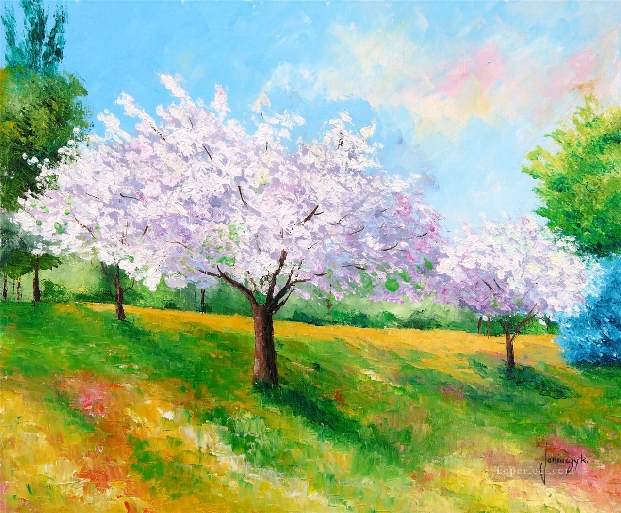 Spring garden painting in oil for sale for Spring canvas paintings
