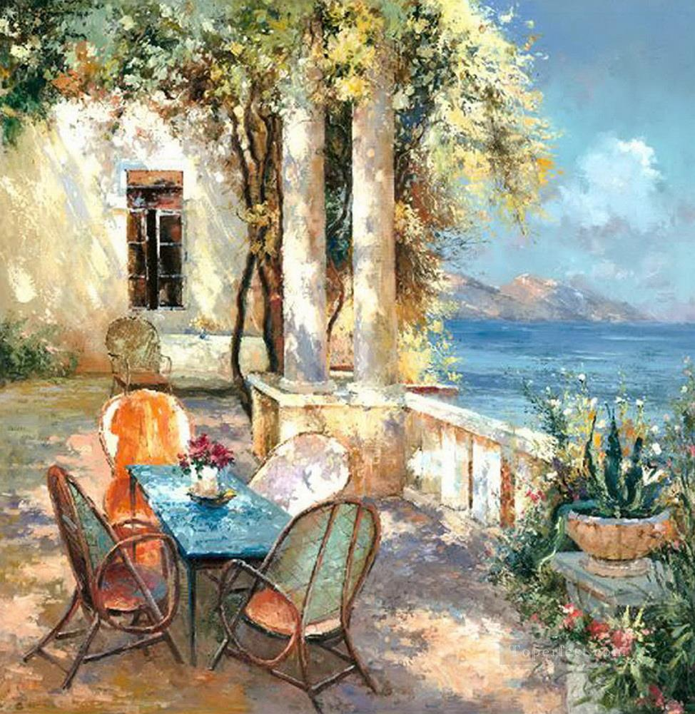 Summer Afternoon in Seaside Cafe Trees Garden Oil Paintings